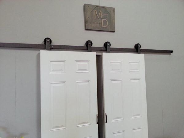 Small barn door hardware