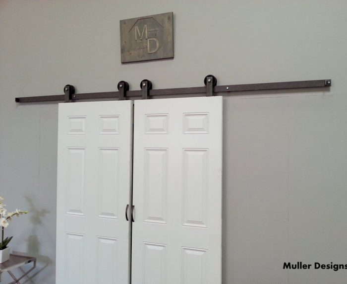 Small barn door hardware