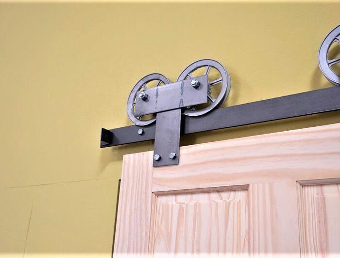 Spoked Wide Plate double wheel Barn Door Hardware