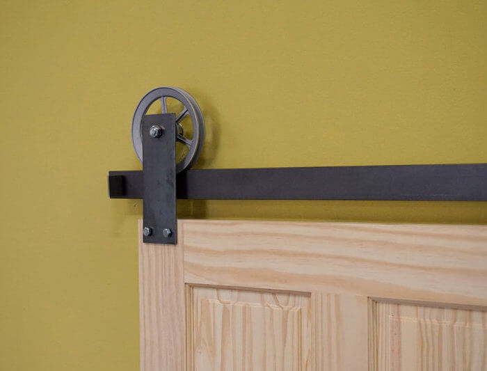 Spoked Wide Plate Barn Door Hardware