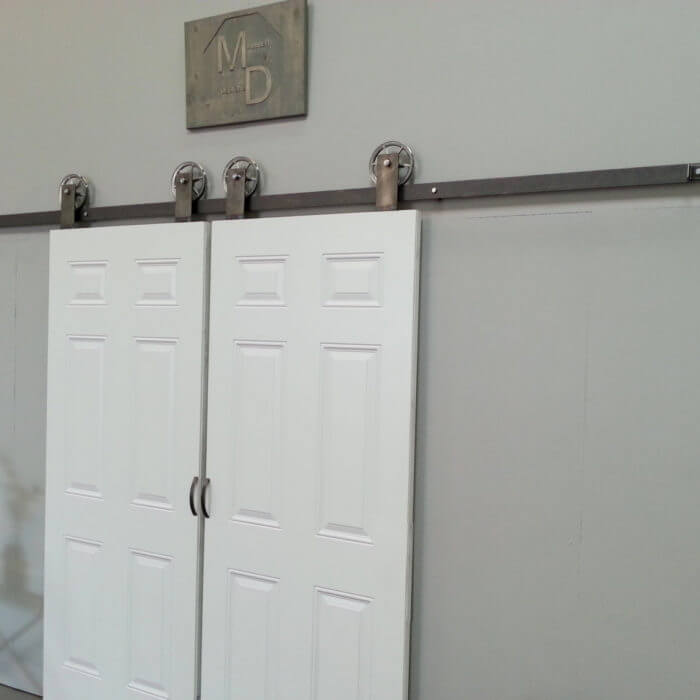 Industrial Spoked European Top Mount Barn Door Hardware